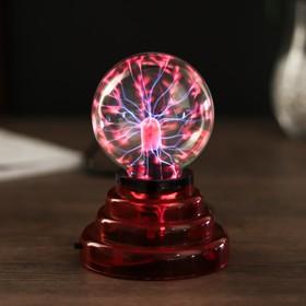 Плазменный шар на подставке, красный, 14 см