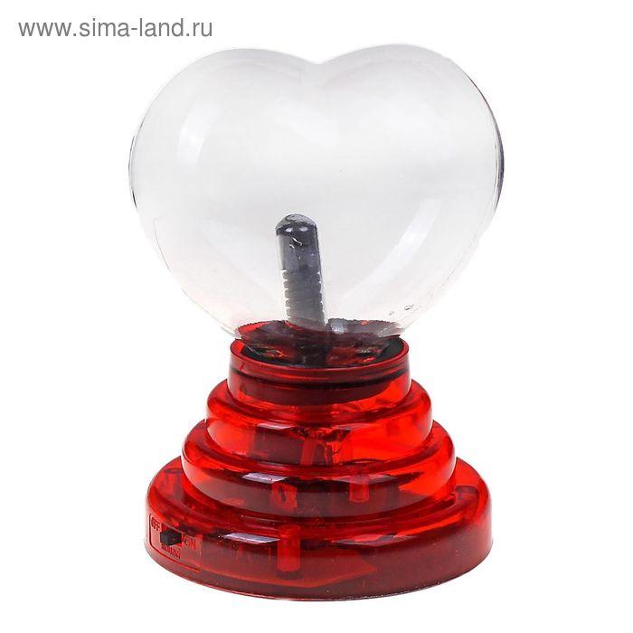 """Плазменный шар """"Сердце на подставке"""", красный"""