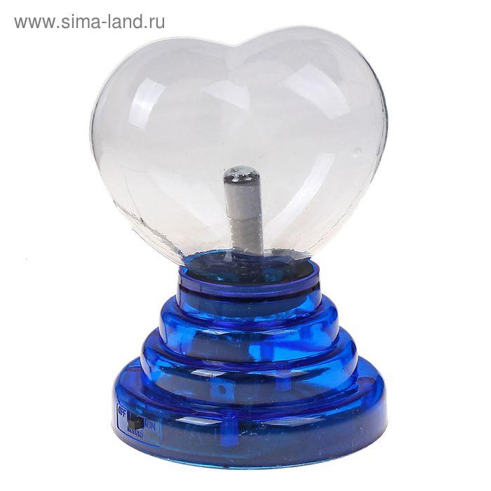"Плазменный шар ""Сердце на подставке"", синий"