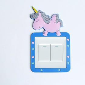 """Наклейка на выключатель """"Единорог"""" объемная, светится в темноте 8,6х8,6 см, 10,5х18 см"""