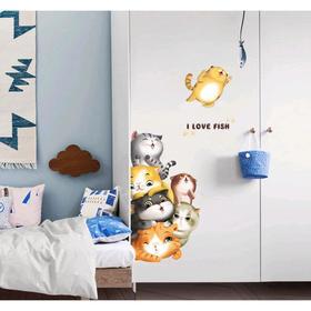 """Наклейка интерьерная пластик """"Подглядывающие котятки"""" 60х90 см"""