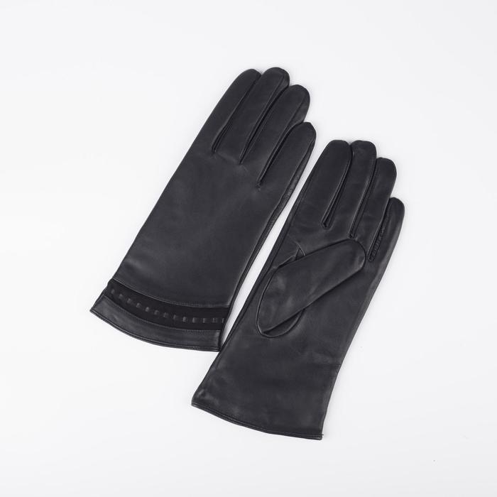 Перчатки женские, размер 6,5, с подкладом шерсть, цвет чёрный - фото 764603