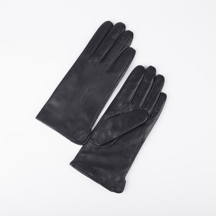 Перчатки женские, размер 7, с подкладом шерсть, цвет чёрный - фото 764615