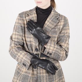 Перчатки женские, размер 7,5, с подкладом шерсть, цвет чёрный