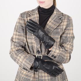 Перчатки женские, размер 7, с подкладом шерсть, цвет чёрный