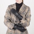 Перчатки женские, размер 7,5, с подкладом шерсть, цвет чёрный - фото 764624