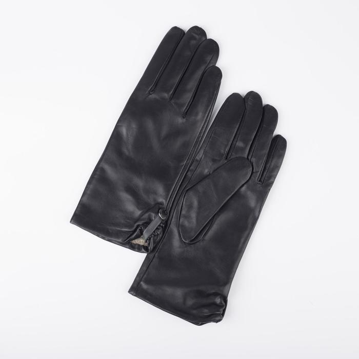 Перчатки женские, размер 7,5, с подкладом шерсть, цвет чёрный - фото 764627