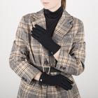 Перчатки женские, размер 6,5, комбинированные, подклад шерсть, манжет затяжка, цвет чёрный - фото 764644