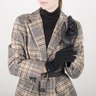 Перчатки женские, размер 6,5, комбинированные, подклад шерсть, манжет затяжка, цвет чёрный - фото 764645