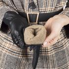 Перчатки женские, размер 6,5, комбинированные, подклад шерсть, манжет затяжка, цвет чёрный - фото 764646