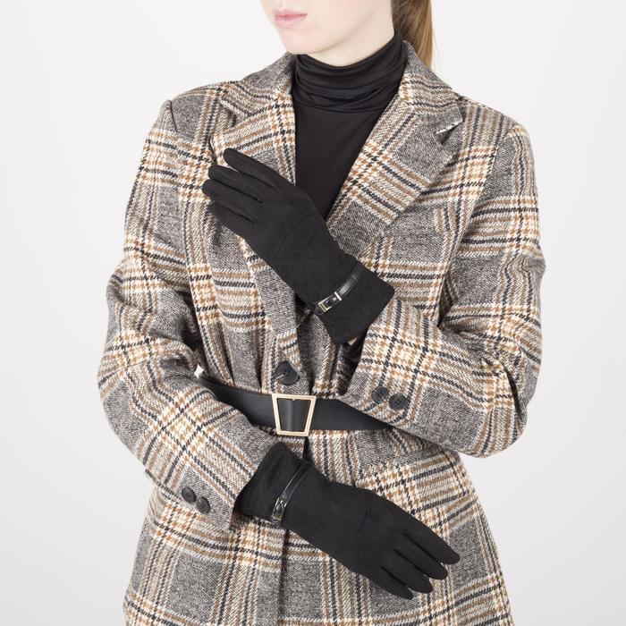 Перчатки женские, безразмерные, без утеплителя, цвет чёрный - фото 2082948