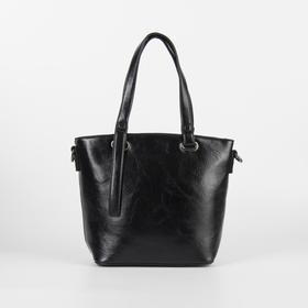 Сумка женская, отдел на молнии, наружный карман, длинный ремень, цвет чёрный - фото 51637