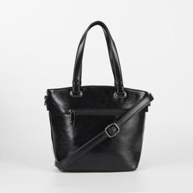 Сумка женская, отдел на молнии, наружный карман, длинный ремень, цвет чёрный - фото 51638
