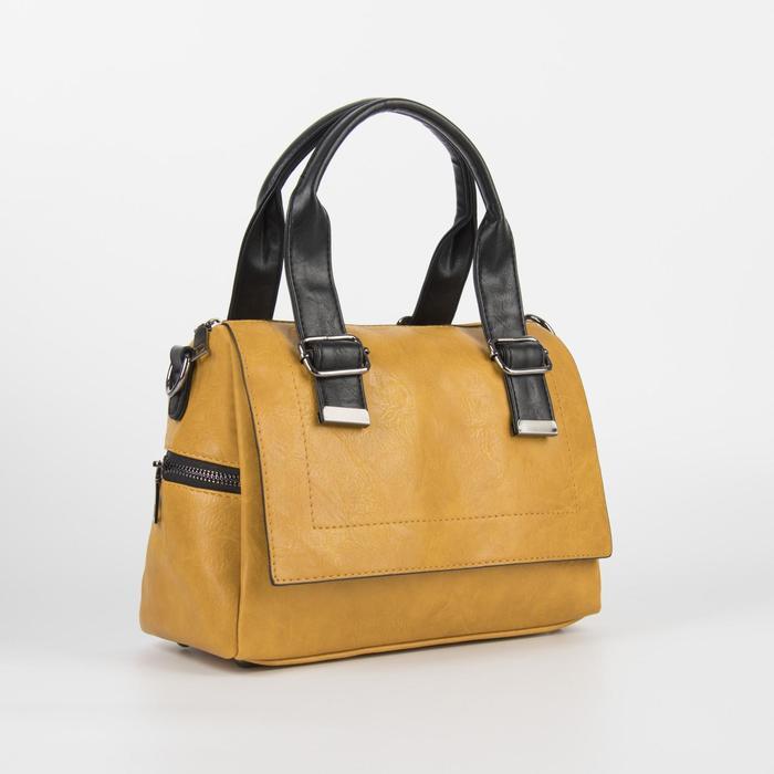 Сумка женская, отдел на молнии, наружный карман, длинный ремень, цвет жёлтый - фото 764732