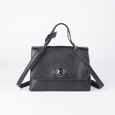 Women's bag L-E85, otd with zipper, n / a pocket, belt length, black