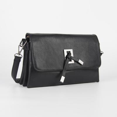 Women's bag L-0108, otd with zipper, n / a pocket, belt length, black