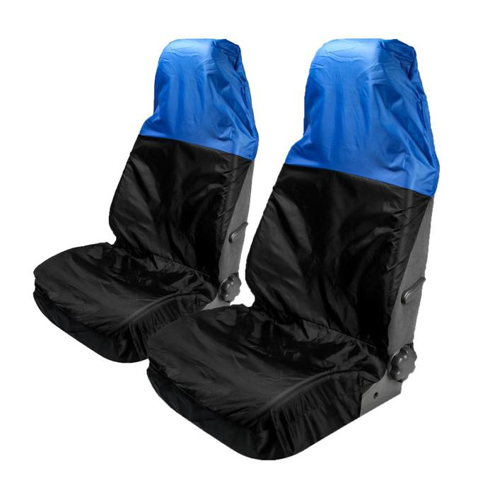 Накидка на переднее сиденье автомобиля, черно-синий, набор 2 шт - фото 2083693