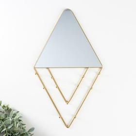 """Decorative hooks with mirror """"Triangles and rhombuses"""" gold 36x20, 5x2, 5 cm"""