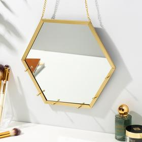 "Decorative hooks with mirror ""Hexagon"" gold 24, 5x27, 8x2, 5 cm"
