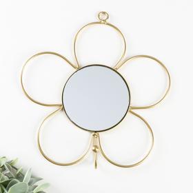 "Decorative hook with mirror ""Flower"" gold 18x18x3, 5 cm"