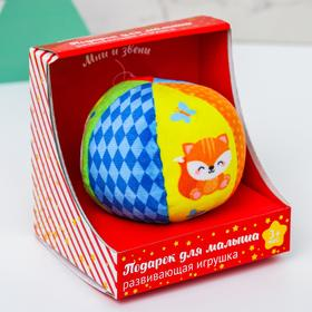 Мягкий развивающий мячик в подарочной коробке «Лесные животные»