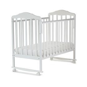 Кровать детская Березка (автостенка, колеса,качалка, накладка ПВХ, белый)
