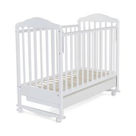 Кровать детская Березка с ящиком (автостенка, колеса,качалка, накладка ПВХ, белый)
