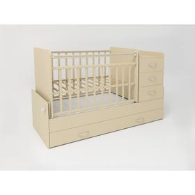 Кровать детская СКВ-5, опуск.бок., маятник, 4  ящика, бежевый