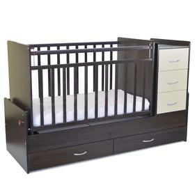 Кровать детская СКВ-5, опуск.бок., маятник, 5 ящиков, венге фасад-бежевый