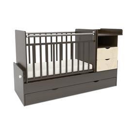 Кровать детская СКВ-5 Жираф (опуск.бок., маятник, полка, 3 ящика, венге+бежевый)