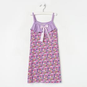 Сорочка для девочки, цвет сиреневый/цветы, рост 110 см