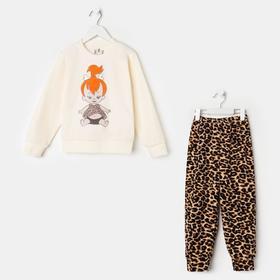 Пижама для девочки, цвет молочный/девочка, рост 104 см