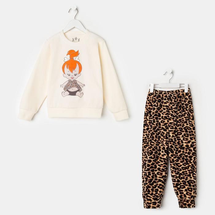 Пижама для девочки, цвет молочный/девочка, рост 116 см - фото 2084461