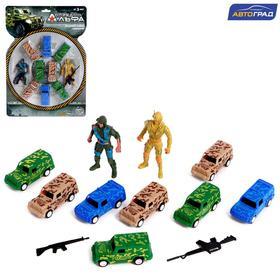 Набор игровой «Отряд Альфа», 8 машинок и 2 солдата, инерция, МИКС