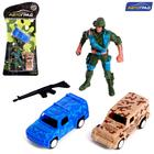 """AVTOGRAD set of game """"Army"""", 2 cars and 1 soldier, inertia, SL-042337, MIX"""