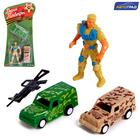 """AVTOGRAD set of game """"Victory Day"""", 2 cars and 1 soldier, inertia, SL-042338, MIX"""