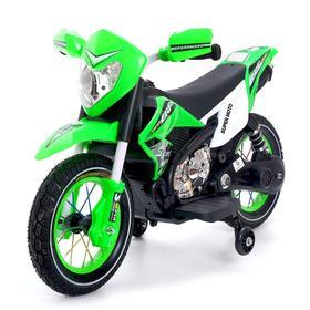 Электромотоцикл «Кросс», пневматические колеса, цвет зелёный
