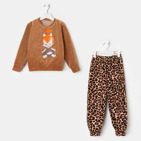 Пижама для девочки, цвет коричневый/девочка, рост 104 см