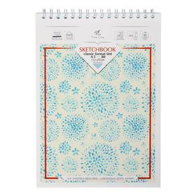 Блокнот-скетчбук А5, 50 листов на гребне, картонная обложка, жёсткая подложка, тонированный блок голубой 80 г/м2