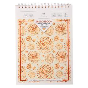Блокнот-скетчбук А5, 50 листов на гребне, картонная обложка, жесткая подложка, тонированный блок оранжевый 80 г/м2