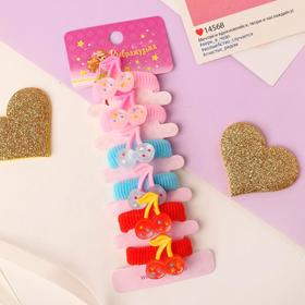 """Elastic band for hair """" Lea """"(set of 6 PCs) cherry speckled"""