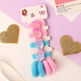 """Elastic band for hair """" Lea """"(set of 8 PCs) strawberries with speckles"""