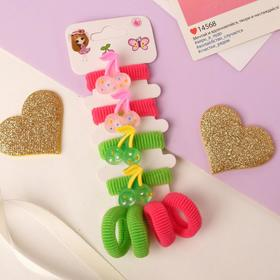 """Elastic band for hair """" Lea """"(set of 8 pieces) cherry speckled"""