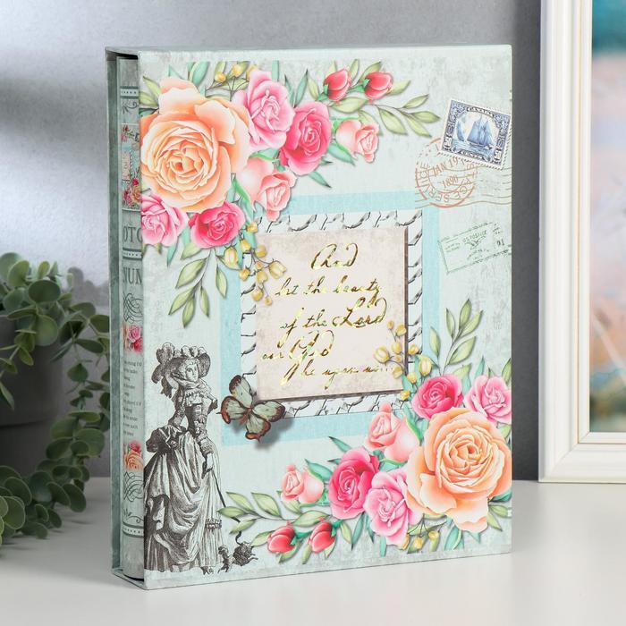 """Фотоальбом на 200 фото 13х18 см """"Рамка и розы"""" в коробке МИКС 29,5х23х5 см - фото 856540"""