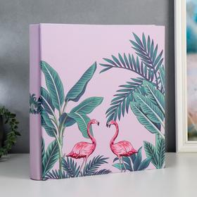 "Фотоальбом на 1000 фото 10х15 см ""Фламинго и пальмы"" кожзам.  36х34х7 см"