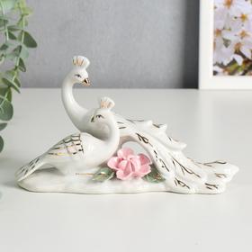 """Сувенир керамика """"Белые павлины с розовым цветком"""" 10,8х18х6 см"""