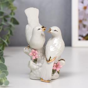"""Сувенир керамика """"Танцы голубей"""" белый 12х7х10 см"""