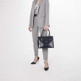 Сумка женская, отдел на молнии, 3 наружных кармана, цвет синий - фото 51732