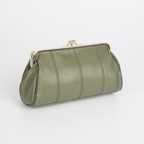 Cosmetic bag-clasp L-A06. 20*7*11, 2 otd on clasps, n / a pocket, green