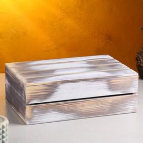 Кашпо деревянное 30×20×10 см, состаренное - фото 7438143